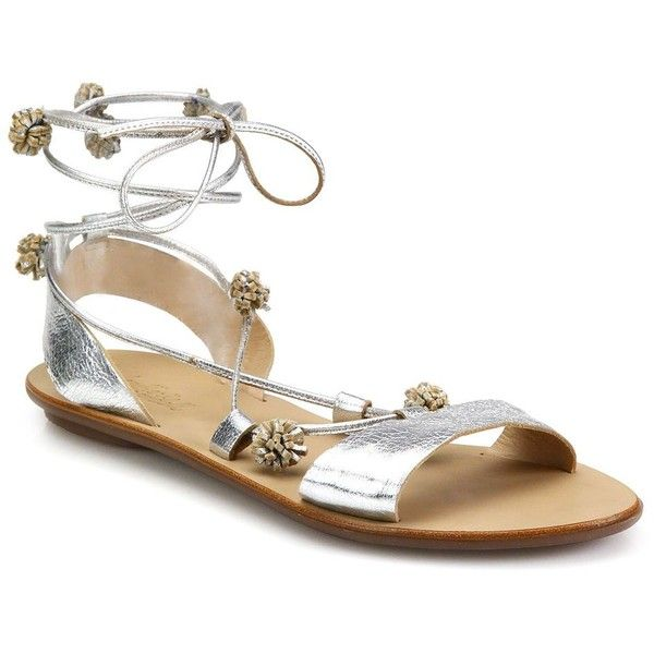 Loeffler Randall Saskia Pom-Pom Metallic Leather Ankle-Tie Flat... ($260) ❤ liked on Polyvore featuring shoes, sandals, apparel & accessories, silver, ankle wrap flat sandals, leather sandals, metallic sandals, wrap sandals and flat sandals