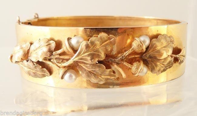 Antique Victorian Napoleon III French Bangle Bracelet Gold Pearls Acorns (#5347)