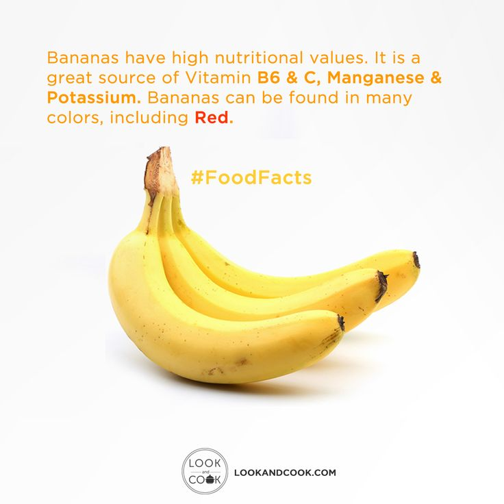 Bananas have high nutritional values. It is a great source of Vitamin B6 & C, Manganese & Potassium. Bananas can be found in many colors, including Red. #FoodFacts