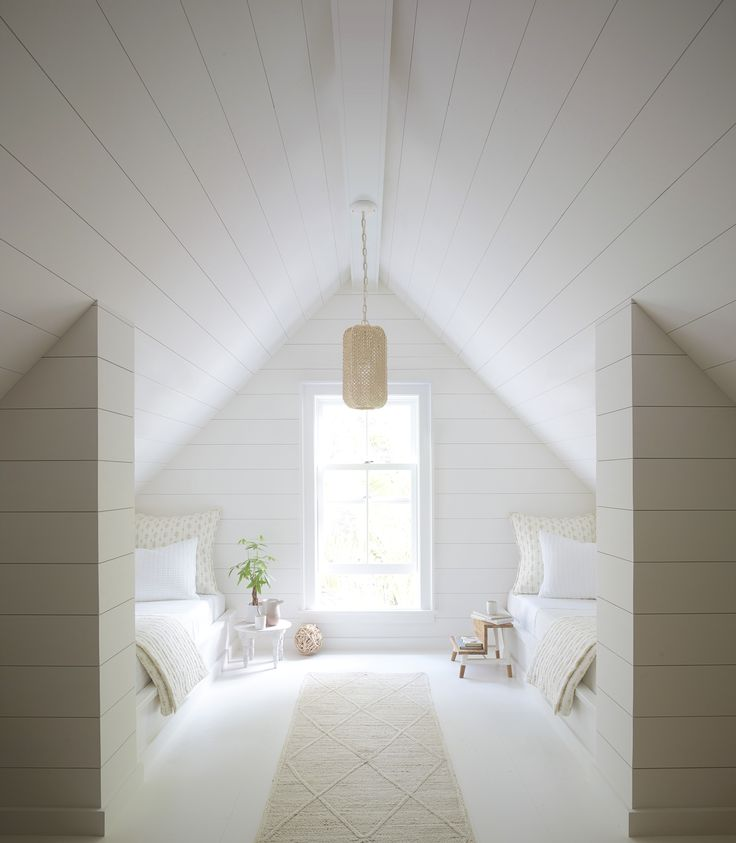 Summer white – attic room – pendant – shiplap – wh…