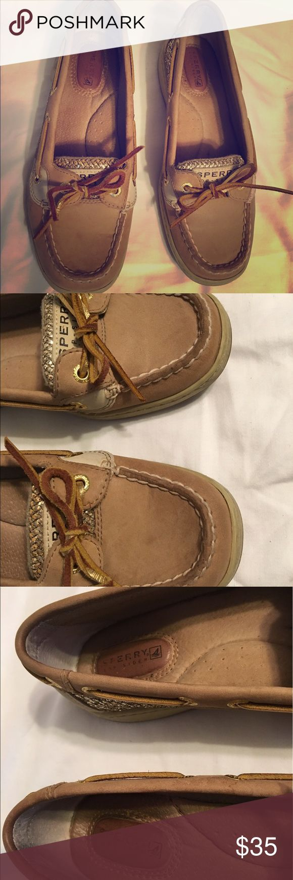 Sperry boat shoe Gold/brown boat shoes.  All day comfort and style! Genuine leather will last forever! EVA molded insole, adjustable lacing Sperry Shoes Flats & Loafers