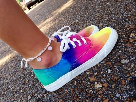 DIY Sharpie Tie Dye Shoes // Rainbow Sneakers How To - YouTube