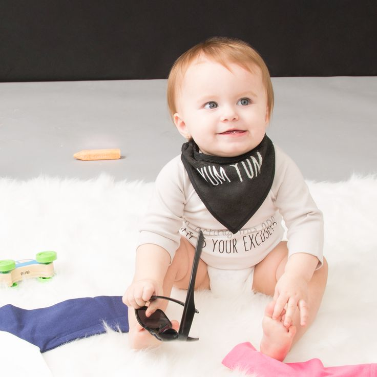 Sidewalk Talk - Yum Yum Black & White Striped Double Sided  Snap On Baby Bib Handkerchief