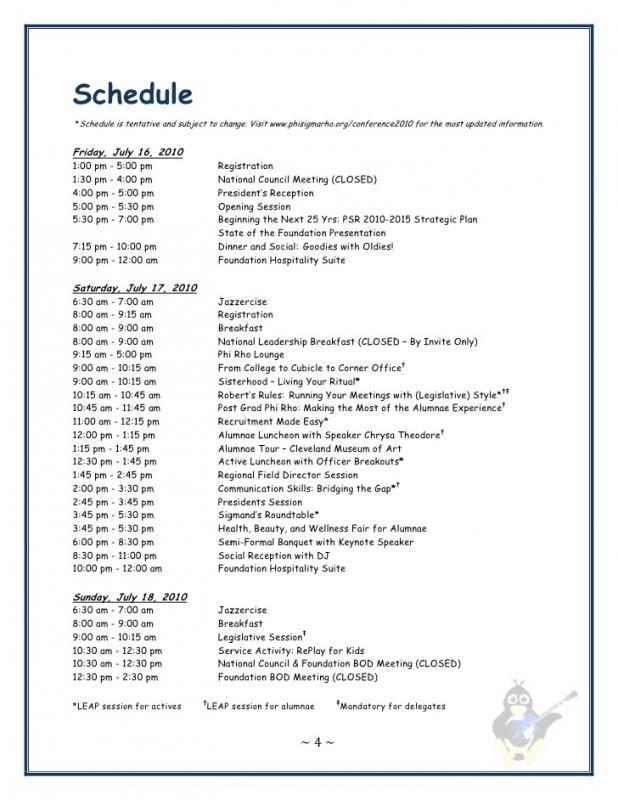 Sample Event Program template