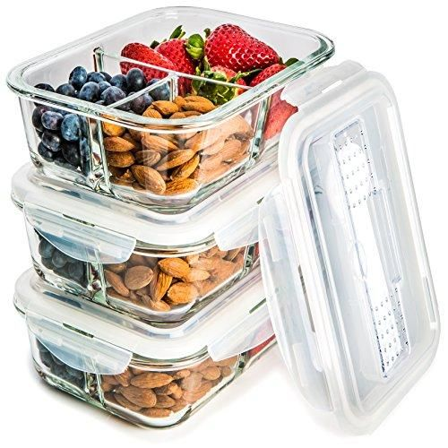[3-Pack] Glass Meal Prep Containers 3 Compartment