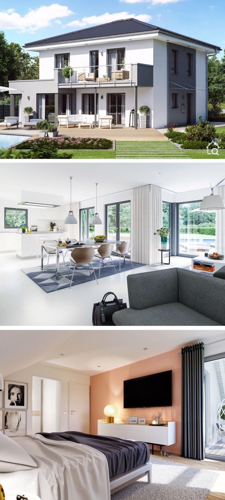 Einfamilienhaus Stadtvilla mit Walmdach & Inneneinrichtung modern, 5 Zimmer Grundriss, 145 qm – Haus bauen Ideen innen & außen Fertighaus SUNSHINE 14…