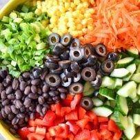 Southwestern Chop Salad with Creamy Avocado Cilantro Dressing | Dairy free salad dressing, dairy free salads | @simplywhisked