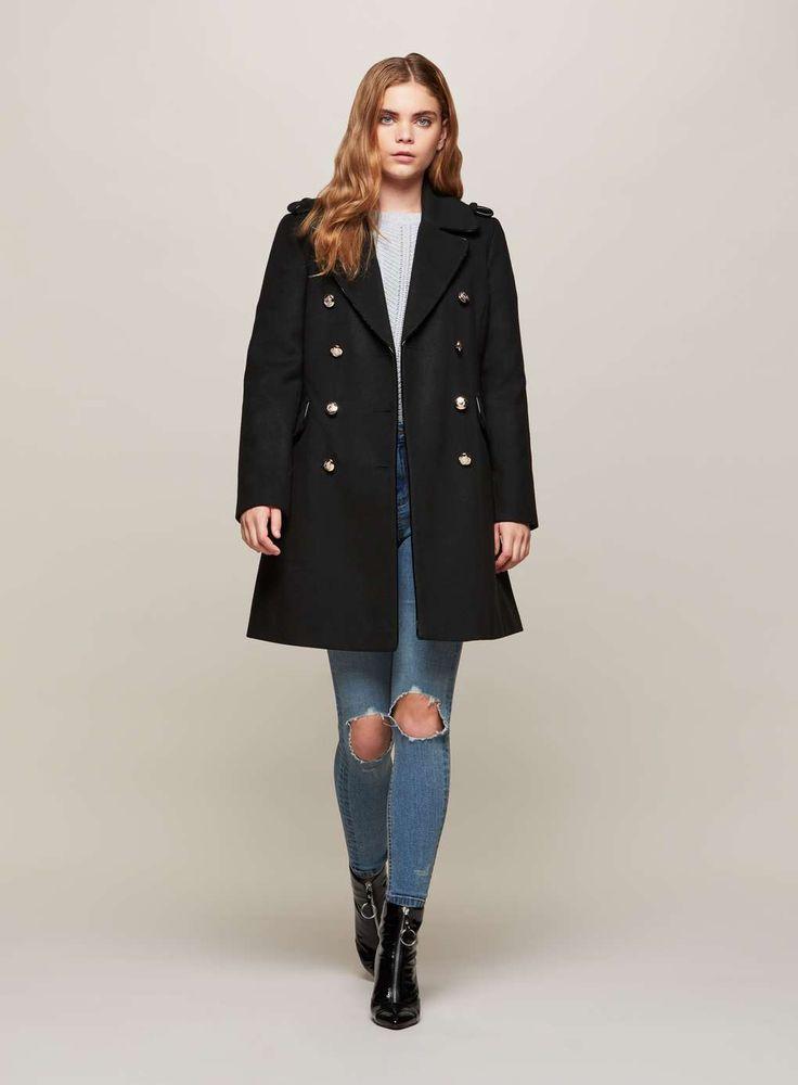 Manteau esprit militaire noir Miss Selfridge