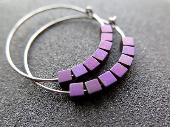 #purple earrings. #hematite jewelry. plum niobium hoops. Splurge at Etsy.com