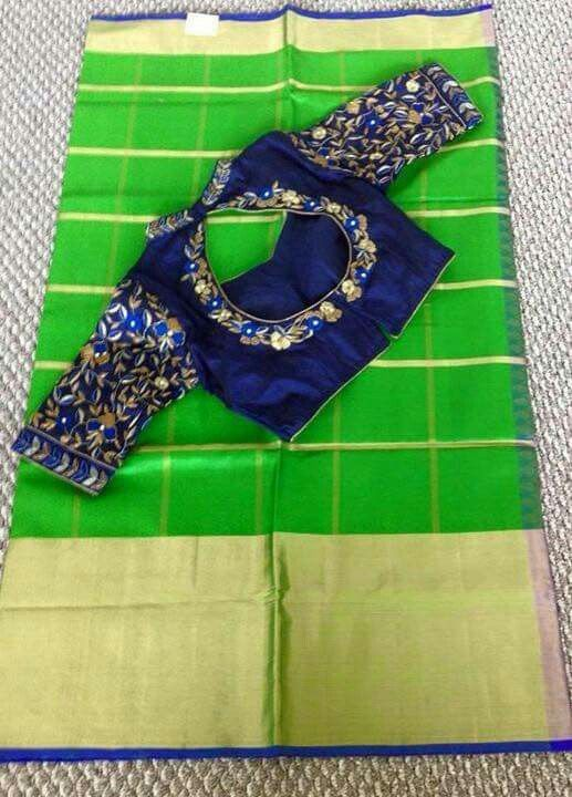 Green with blue  ... saree  What a combination ... superb blouse