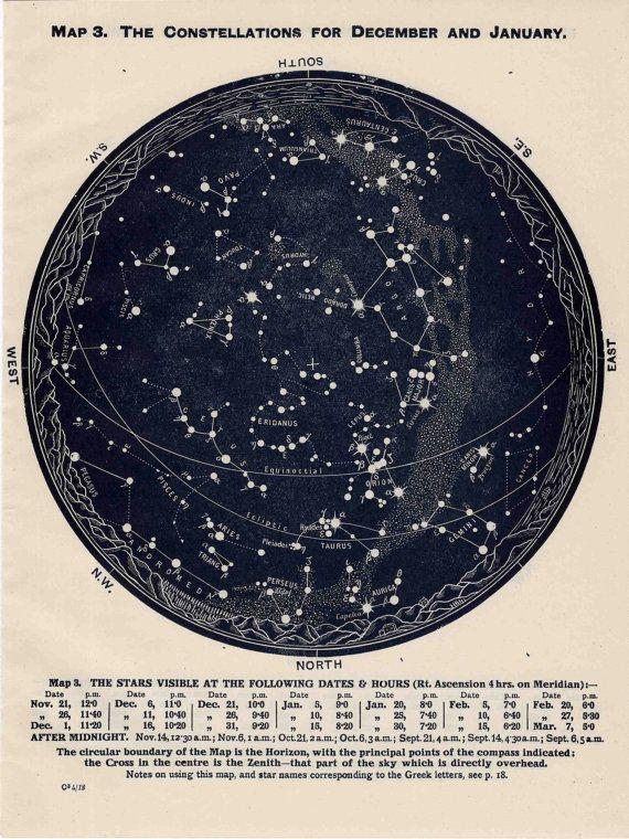 1963 constellations star map original vintage by antiqueprintstore