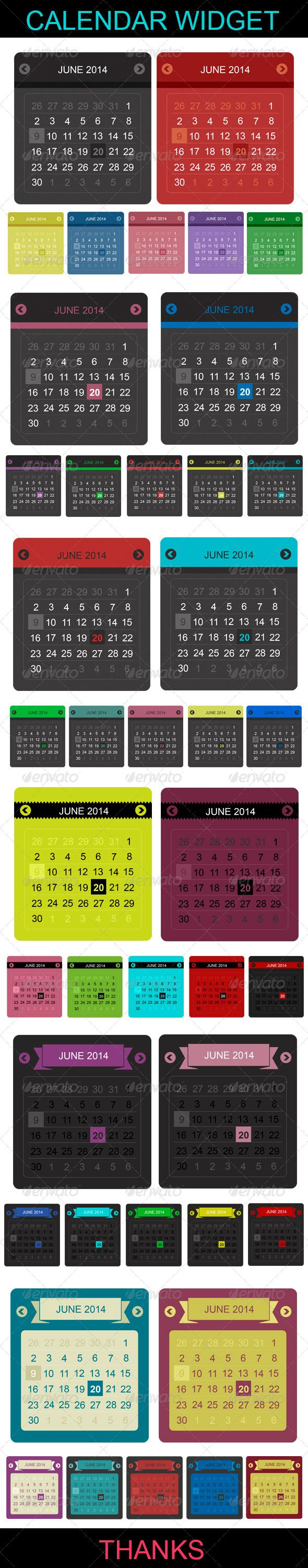 Calendar Widget  6 calendar options  There are 3 PSD files in total. All PSD files are very organized andstructured for easy modif