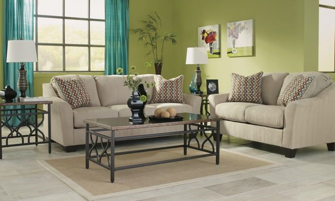 """2 pc Hannin collection Stone fabric upholstered sofa and love seat set with flared arms. This set includes the Sofa and Love seat featuring flared arms. Sofa measures 82"""" x 37"""" x 38"""" H. Love seat measures 59"""" x 37"""" x 38"""" H. Optional chair and sleeper sofa also available separately. Some assembly may be required.   Clearance , Sold As-Is no returns."""