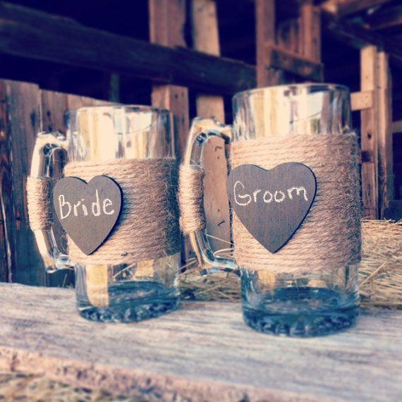 Bride and Groom Beer Mugs Rustic Wedding by DownInTheBoondocks, $30.00