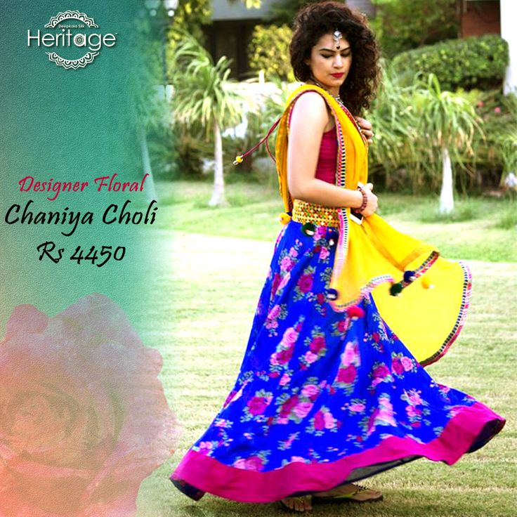 Make this #Navaratri extra special with our designer blue #chaniyacholi with yellow #dupatta.