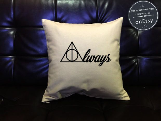 Always Deathly Hallows Harry Potter Pillow Cover Handmade pillow Harry potter Throw Pillow cover cotton canvas  Pillow Cover Gift