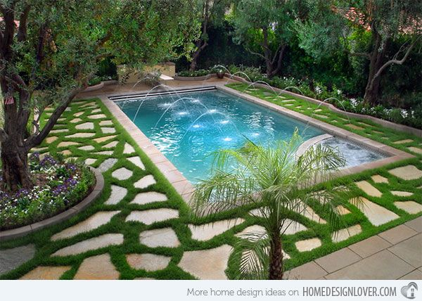 15 swimming pool decks with stone and pavers swimming pool decks swimming pools and decking - Garden Ideas Around Swimming Pools