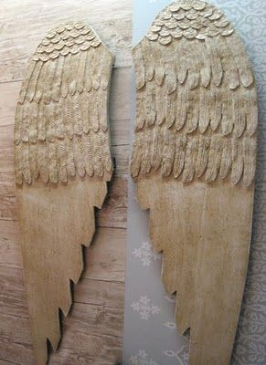lace or old paper on wood wings