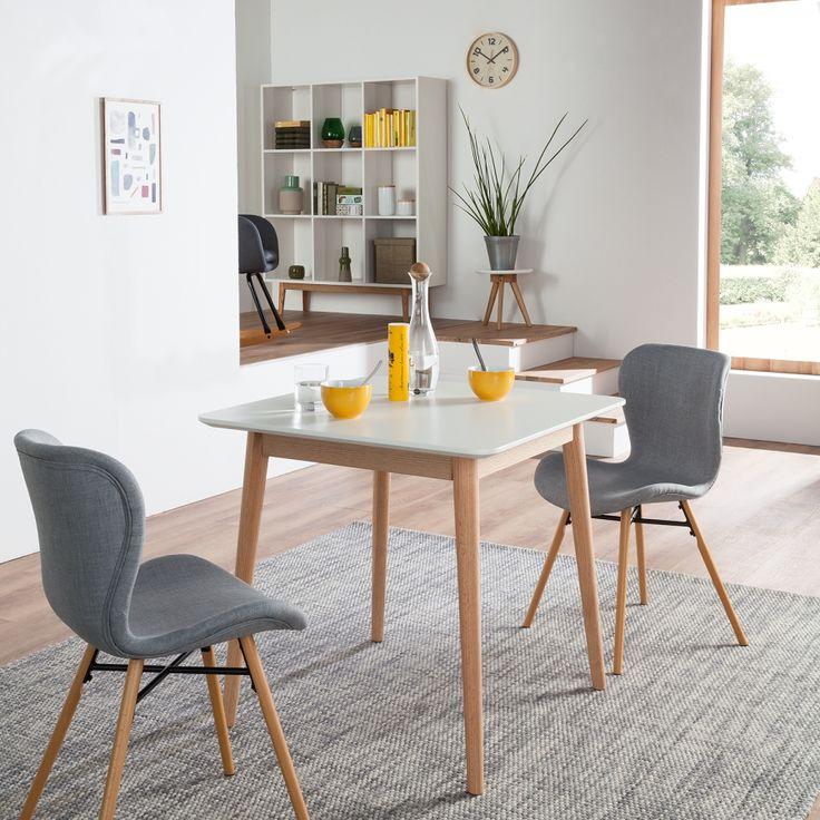 Gestoffeerde stoelen Livaras (2-delige set) - geweven stof/massief beukenhout - Lichtgrijs