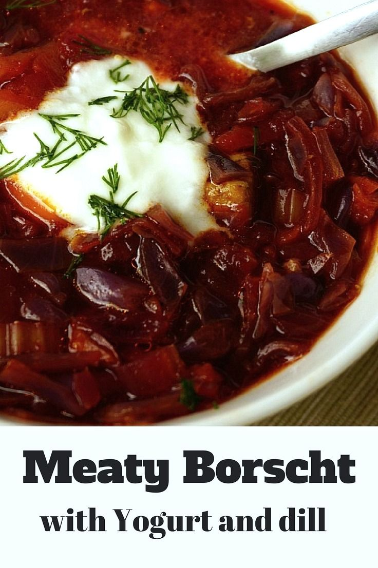 Beef Borscht Recipe - A hearty soup made with cabbage and roasted beets. Great soup for fall winter! Click to view the full recipe!