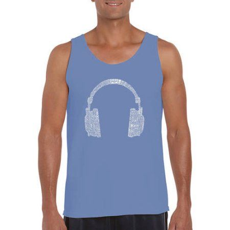Los Angeles Pop Art Big Men's Tank Top - 63 Different Genres Of Music, Size: 3XL, Multicolor
