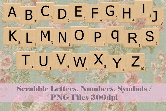 INSTANT DOWNLOAD / SCRABBLE tiles png / Scrabble texture / Scrabble letters,symbols,numbers / Scrabble clip art