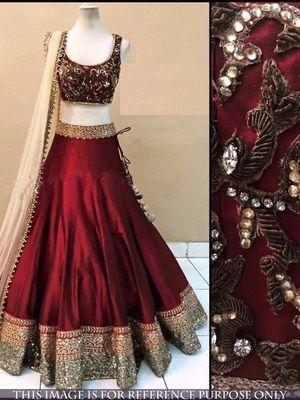 Maroon benglori silk embroidered unstitched lehenga choli