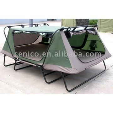Camping tent cot. I've tried these out. Seems so much easier than setting up a tent and air mattresses. I wonder how it would feel if a raccoon crawled beneath you though.