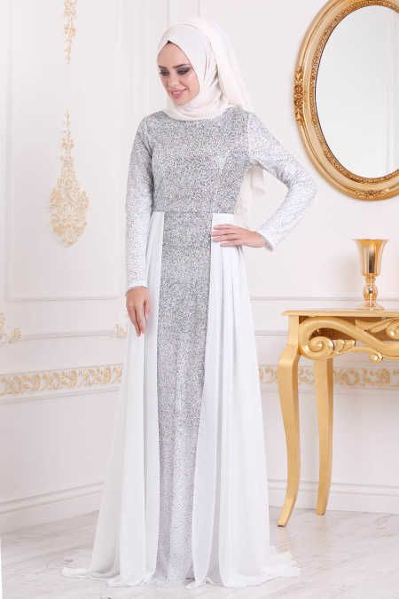 0e5f62f75b6e Neva Style - White Hijab Evening Dress 90020B in 2019   EVENING ...