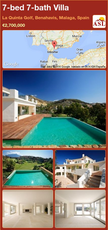 7-bed 7-bath Villa in La Quinta Golf, Benahavis, Malaga, Spain ►€2,700,000 #PropertyForSaleInSpain
