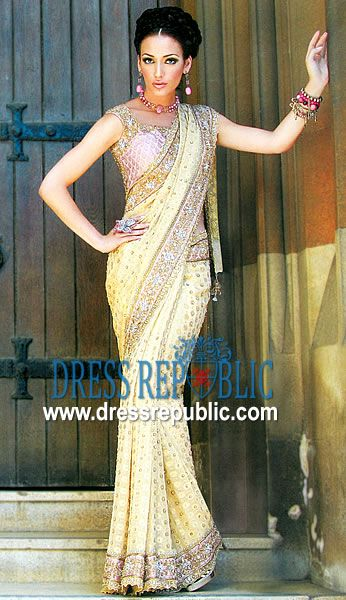 Dusty Gold Misr, Product code: DR1174, by www.dressrepublic.com - Keywords: Online Shop for Wedding Sarees Los Angeles, CA, Sarees in L.A