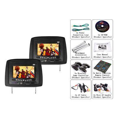DVD Player auto tetiera/Game System Black (pereche) – 7 Inch Screen = 126,17 Euro. http://camere-spion.info/auto/?page_id=30