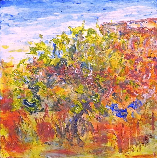 Figtree | #acrylic on canvas | ca 49 x 49 cm | ©Irka Stachiw #soulmate #art #landscape #painting #impressionisme