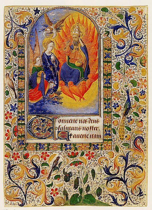 "Inscription: Recto: ""Converte nos deus / salutaris noster. / Et averte iram.""    Marking: Verso: incomplete text of Compline of the Hours of the Virgin, surrounded by a foliate border: ""tuam a nobis / Deus in adiutorium me / um intende. / Domine ad adiuvandu[m] me festina. / G[lor]ia patri. Alleluia"" and then Psalm 128: ""Sepe expugnaveru[n]t...Supra dorsum meum"""