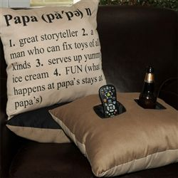 Papa Pillow   Definition of Papa Pillow with 2 Pockets   Throw Pillow for Papa with Beverage and Remote Holder