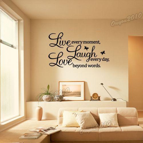 DIY Live Laugh Love Sticker Lettre Mural Déco Murale Autocollant Chambre Salon | eBay