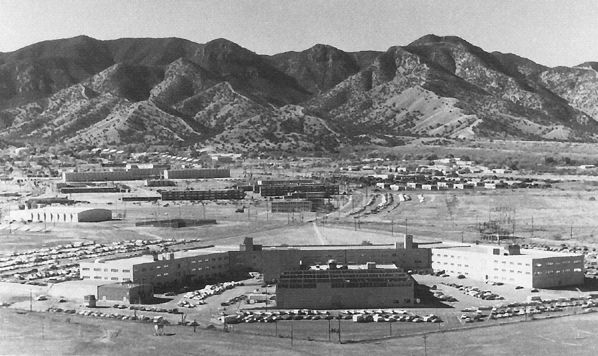 Fort Huachuca, Arizona, headquarters of the U.S. Army Information Systems Command. Greely Hall is in the foreground with the Huachuca Mountains behind.