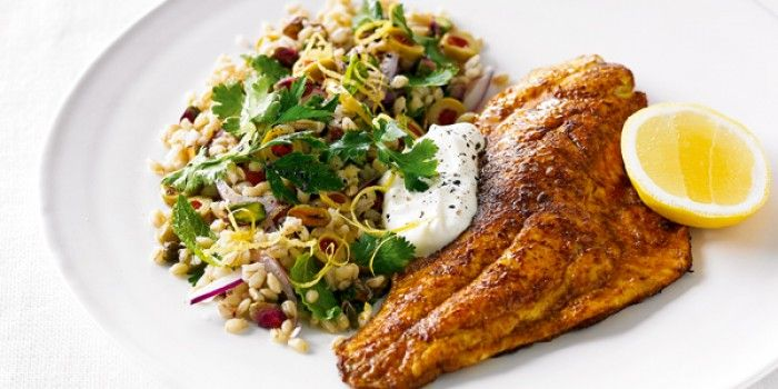 Spiced Fish with Barley and Olive Salad   In Season: Autumn   MiNDFOOD