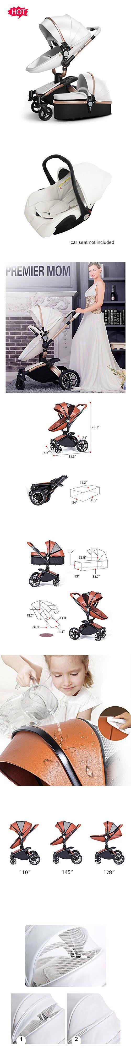 Homespon Infant Shock-resistant Stroller Baby Pram Travel System and Bassinet Combo-White