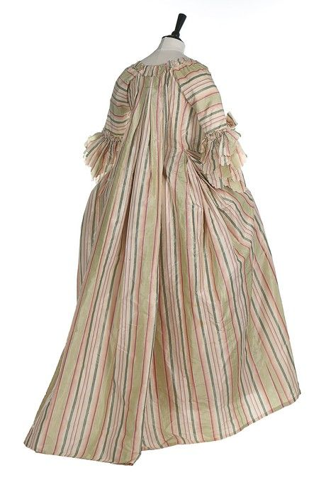 Rear view, robe à la francaise, 1770s. Chine silk taffeta woven in shades of green pink an divory stripes, fabric trim, linen linings.