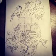 Image result for realistic bird tattoos with cage