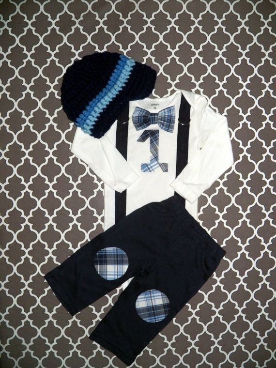 Baby Boy First Birthday Outfit - Boys Birthday Bodysuit with Knee Patch Pants - Cakesmash, 1st Birthday, Navy Plaid on Etsy, $64.96 CAD