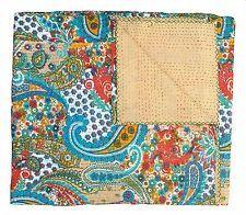 Indian Handmade Quilt Vintage Queen Kantha Bedspread Cotton Blanket Ralli Gudri