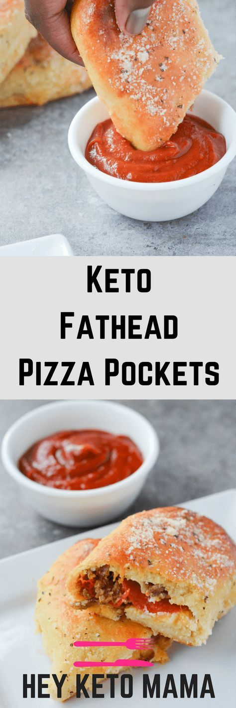 These Keto Fathead Pizza Pockets are delicious proof that going low carb does not mean giving up your favorite foods!   heyketomama.com