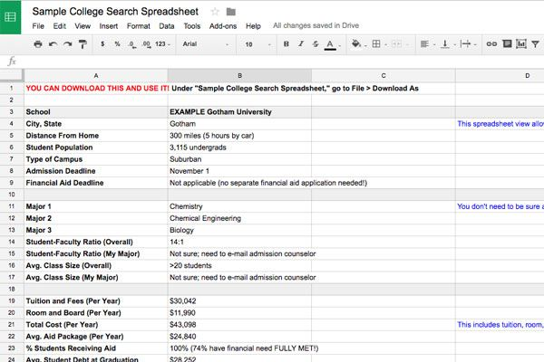 College Search Spreadsheet College search, College