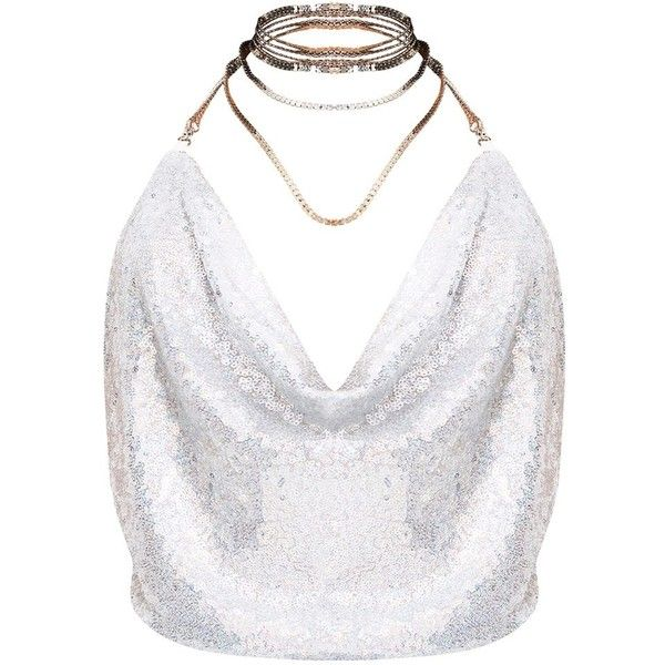 Silver Cowl Neck Sequin Chain Crop Top ($26) ❤ liked on Polyvore featuring tops, shirts, white tops, cowlneck top, sequined tops, white sequin top and cropped tops