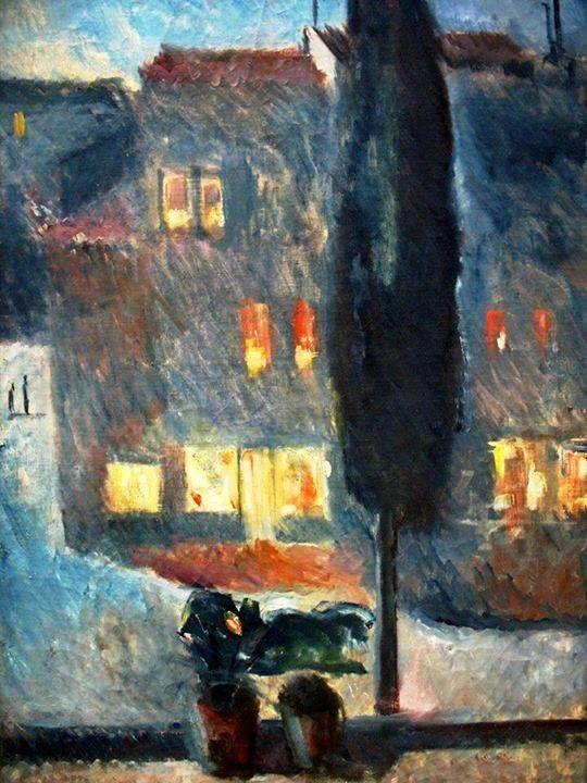 Un cipresso al chiaro di luna di Edvard Munch 1892.