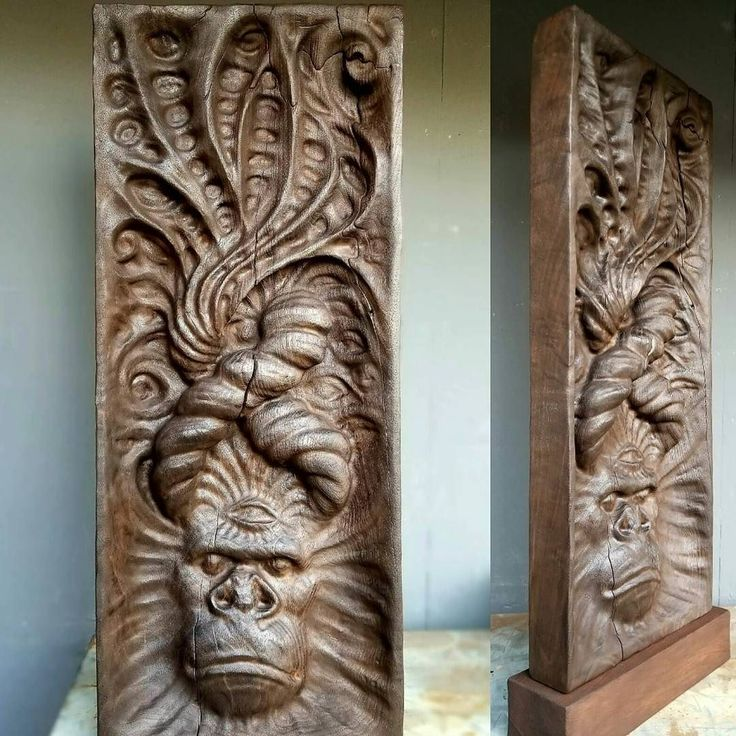 """'Monolith' Custom made for @aubreymarcus  22x9x2 Walnut on Mahogany """"The shores of helplessness are warm and cozy. To sail into the storm of your potential is the true test of a warriors courage."""" -AM  #isnervisionart #ape #kundalini"""