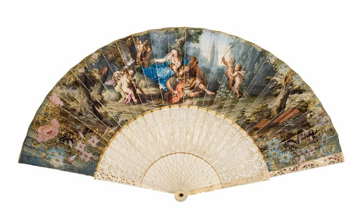 Folding fan with sticks and guards of carved and pierced ivory, and single paper leaf painted with cherubs playing in a woodland landscape around central figures of a reclining man in classical armour with head in lap of a woman, c. 1750-1780.