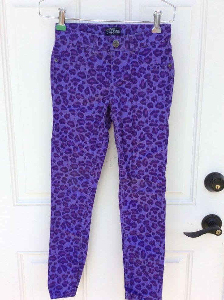 Children's Place Jegging's Size 10  Purple Animal Print Jeans Girls